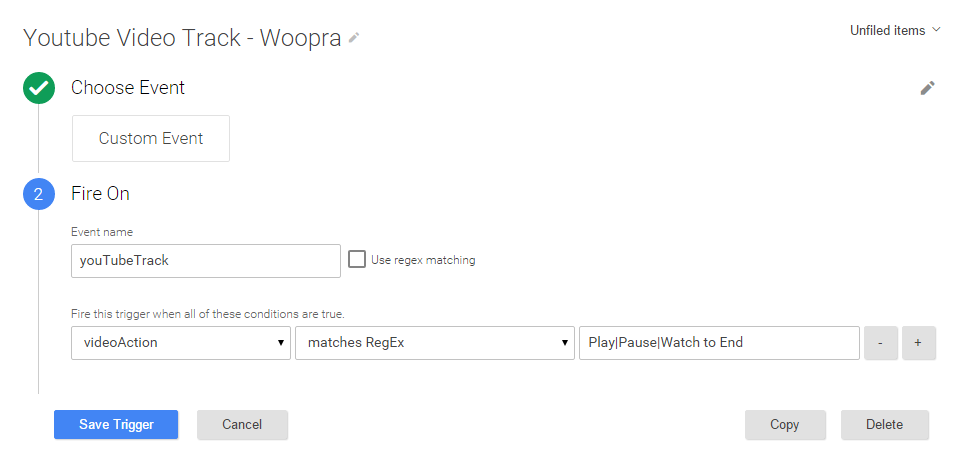 Track YouTube video views in Woopra using GTM