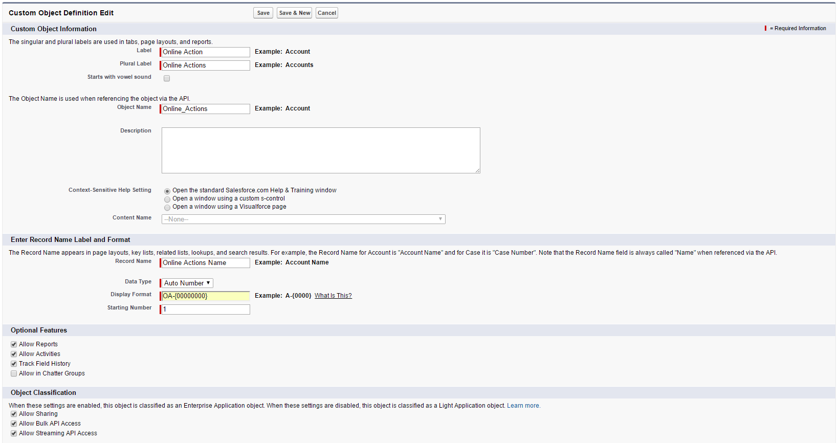 Create salesforce form submissions object