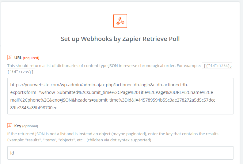 Retrieve webook poll Zaper