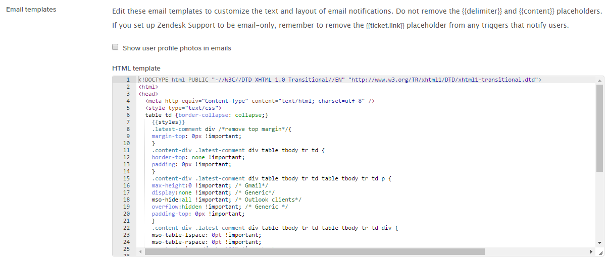 Update Zendesk HTML template
